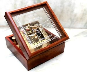 Adroit Shiny Brass Vintage Square Pocket Sundial Compass Marine W/wooden Box Royal Item To Suit The PeopleS Convenience Antiques Maritime Compasses