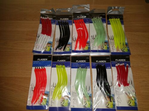 5 FLADEN GUMMI MAC SAND EELS,9//0 OR 6//0,CHOICE OF 5 COLOURS.NORWAY//GAME//WRECKING