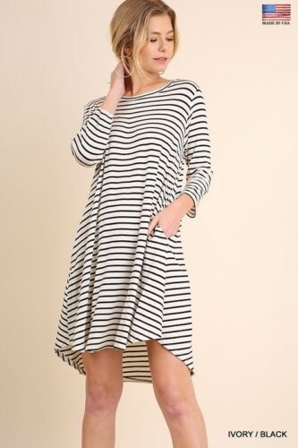 Umgee stripe 3//4 Sleeve T Shirt dress with side pockets Tunic S M L