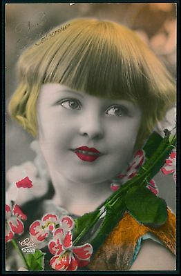 Pretty Deco Child Girl Glamour Tinted original vintage 1920s photo postcard 102