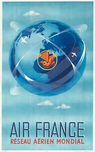 Affiche Originale - Plaquet - Air France - Aviation - Pegasus - Crevette - 1948