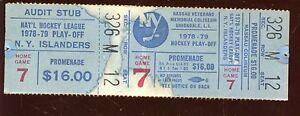 1978/1979 NHL Hockey New York Islanders Playoff Ticket Game 7