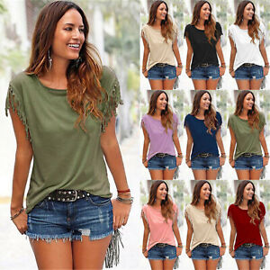 Boho-Women-Tassels-Short-Sleeve-T-Shirt-Ladies-Summer-Casual-Tops-Blouse-6-14