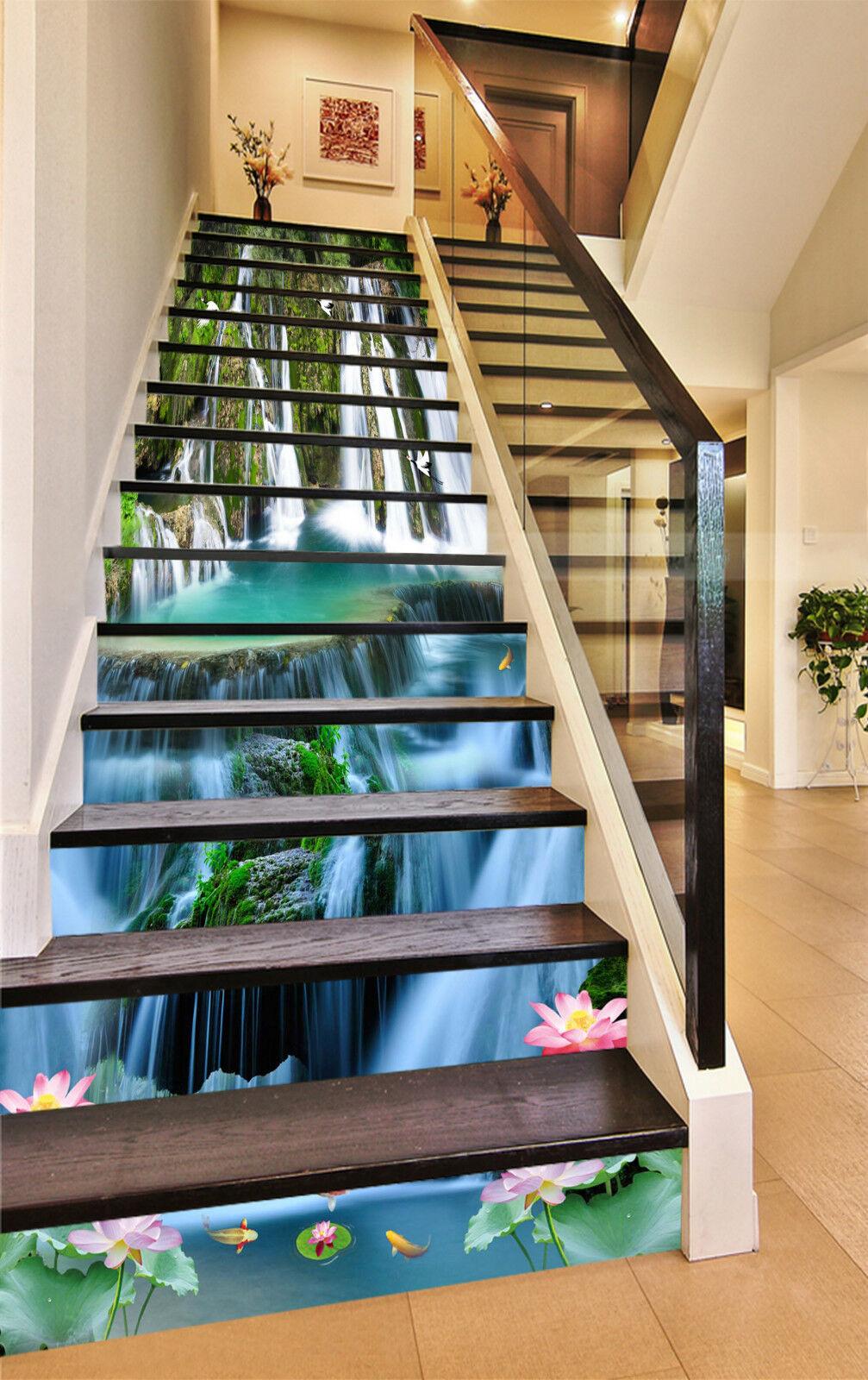 3D Wasserfalls 077 Stair Risers Dekoration Fototapete Vinyl Aufkleber Tapete DE