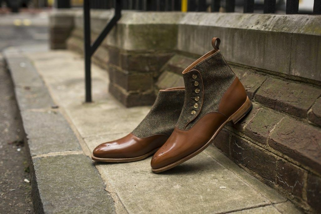 Handmade Tweed Uomo two toned button boots Uomo brown Tweed Handmade and pelle button boot ac3b2f