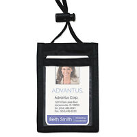 Advantus Id Badge Holder W/convention Neck Pouch Vertical 2 1/4 X 3 1/2 Black 12 on sale