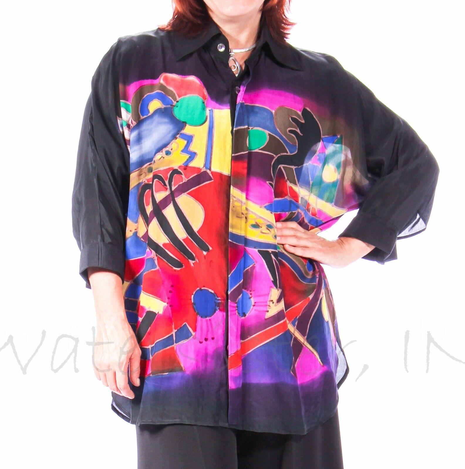 DILEMMA  Hand-Painted SILK Art-to-Wear  279 BIG SHIRT  Long  (2 Größes) KANDINSKY