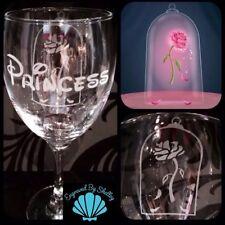 Personalised Disney Enchanted Rose Wine Glass Beauty & The Beast Handmade Custom