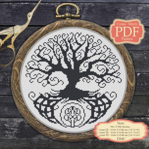 Árbol de la vida-diseño escandinavo moderno punto de cruz patrón PDF 066