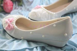 Diy Womens Pink Bow Pumps Stilettos Lace Wedding Bridal Party Shoes Heels #17