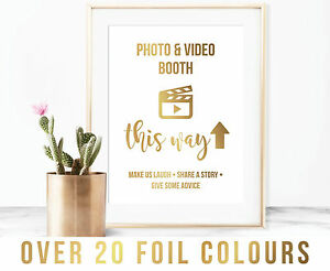 Image Is Loading A4 Foil Quote Wedding Photo Video Booth Sign