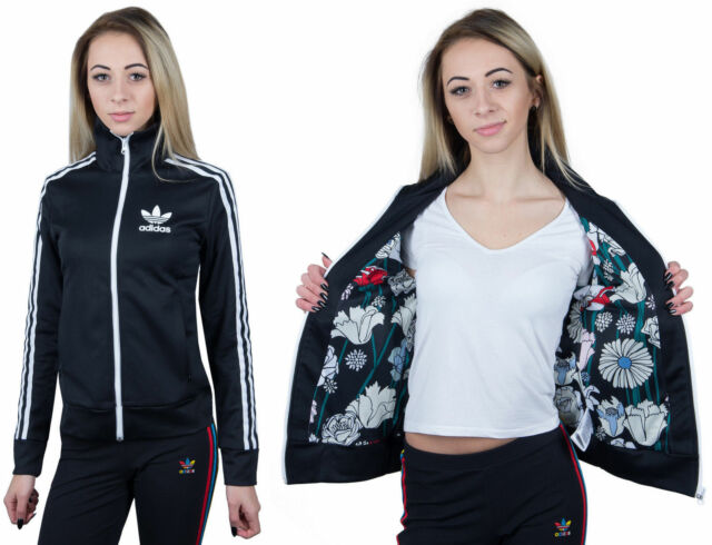 Adidas Originals Europa Women's Track Jacket Trefoil Black Floral Firebird Slim