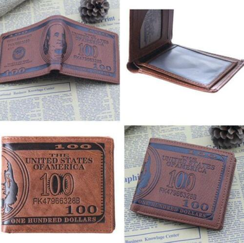 New Design PU Leather Men US Dollar Bill Bi-fold Wallet Card Purse Holders T