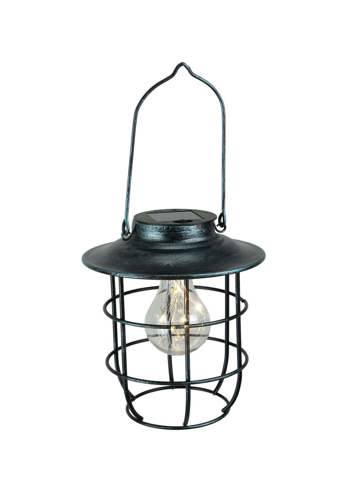 Rustic Brown Industrial Cage Style Solar Powered LED Fairy Light Hanging Lantern