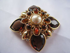 JOAN RIVERS Gold Tone MALTESE CROSS BROOCH/PIN Faux Amber TOPAZ PEARL Stunning!