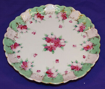 VINTAGE JAPAN HAND PAINTED CHINA PLATE VIOLETS W/ GREEN & PINK BORDER PRETTY
