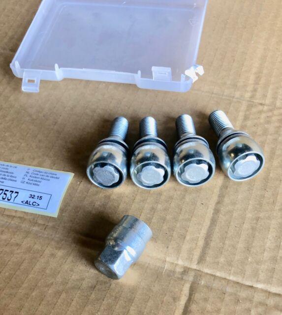 Kit d'écrous antivol de jantes alliage (4 écrous avec clé de démontage) M12x 1,5