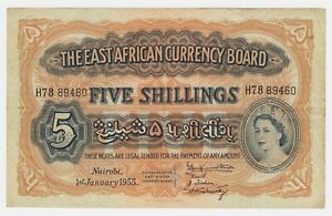 British-East-Africa-Banknote-5-Shillings-1955-P33-VF-Queen-Elizabeth-Lion-TDLR