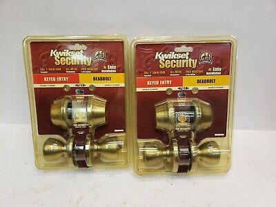 Keyed 2-sides Antique Brass Lot 2 Kwikset 695T 5 CP K6 Entry Door Knob//Deadbolt