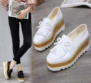Womens-High-Wedge-Heel-Platform-Square-Toe-Casual-Shoes-Slip-On-Loafers-Tassels