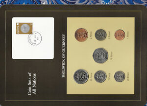 Coin-Sets-of-All-Nations-Guernsey-Brown-w-card-1979-1982-UNC-1-1981-Lily-13AP83