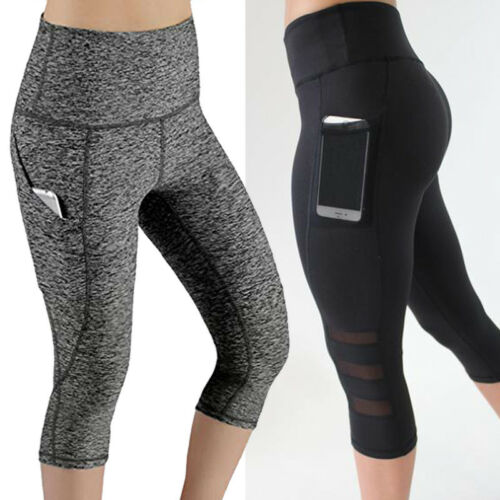 Lady/'s High Waist Capri Cropped Leggings Yoga Pants Fitness Workout Wear for Gym