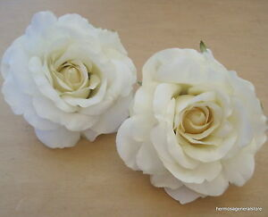 Two piece lot large 4 12 cream white rose silk flower hair clips image is loading two piece lot large 4 1 2 034 mightylinksfo