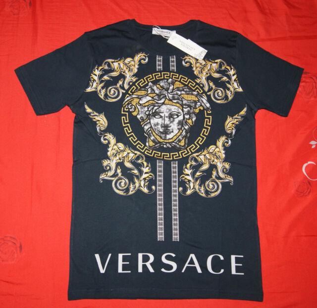 Versace Brand New Men Black 100/% Cotton T shirt Medusa