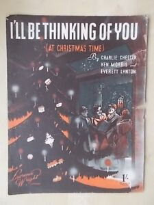 Vintage Sheet Music Ill Be Thinking Of You At Christmas Time Ebay