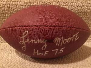 RAYMOND BERRY+LENNY MOORE AUTOGRAPHED FULL SIZE FOOTBALL    BALTIMORE COLTS