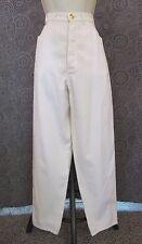 CHANEL Boutique Vintage 80's Ivory 100% SILK High Waist Trouser Pants Gold Logo