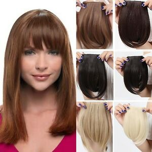 AU-Clip-on-Front-Bangs-Fringe-Clip-in-Hair-Extensions-Black-Brown-For-Party-HZ1