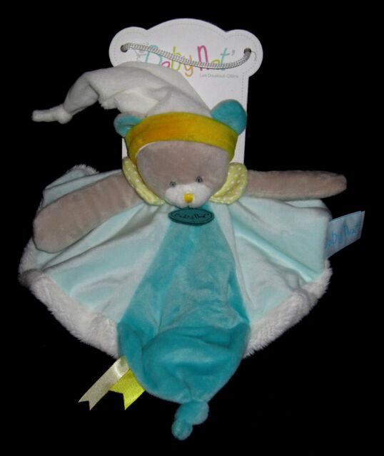 Doudou Babynat Les touptis ours ourson plat bleu jaune 25cms BN0208