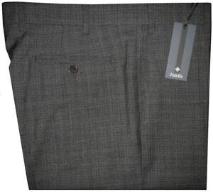 395-NWT-ZANELLA-DEVON-GRAY-amp-BLACK-SUPER-120-039-S-WOOL-MENS-DRESS-PANTS-36