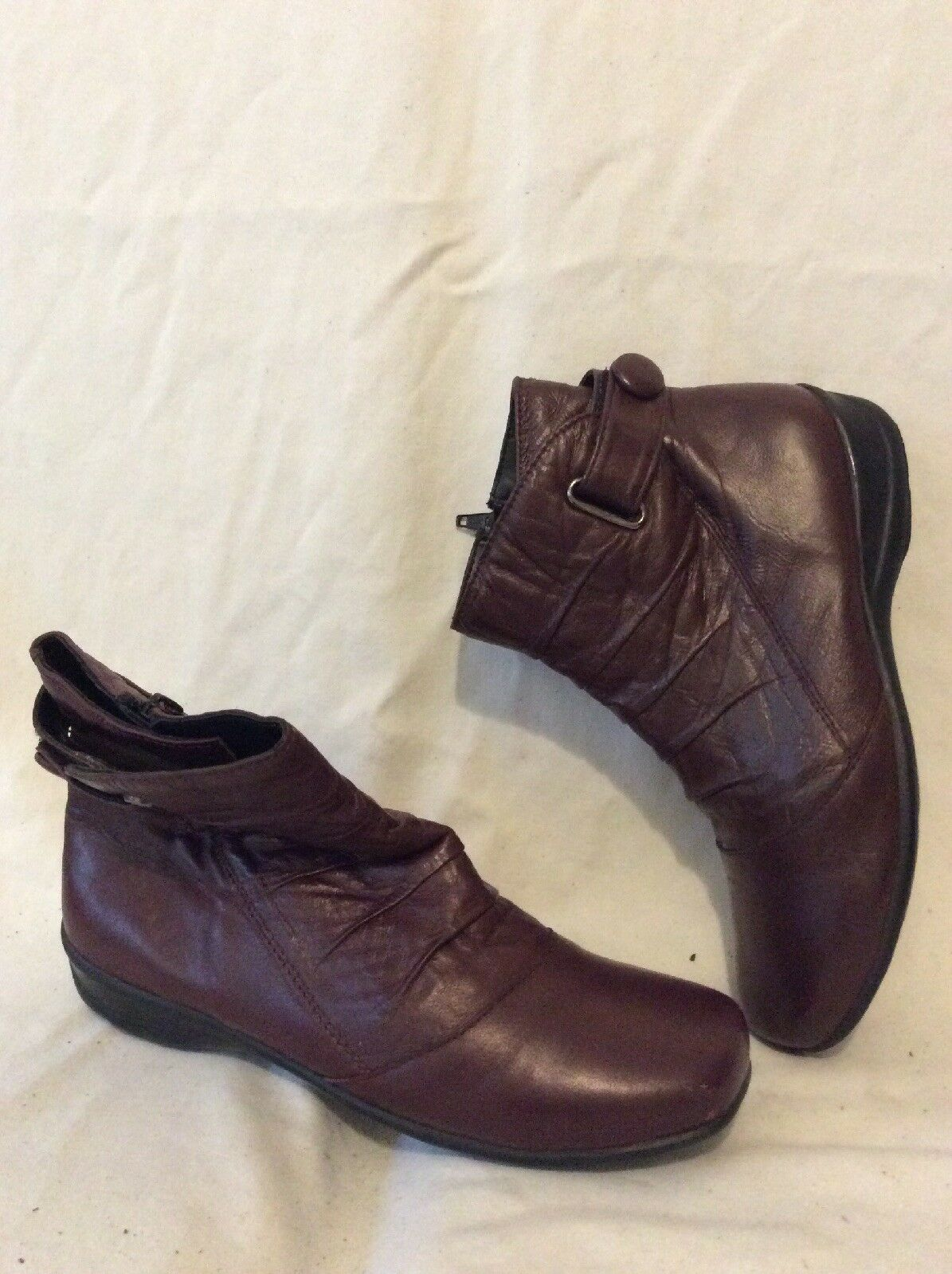 Lotus Maroon Ankle Leather Boots Size 4