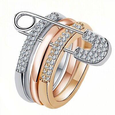Triple Silber Gold Frauen Ring Sicherheitsnadel 3 Ringe Cubic Zircon verziert Schmuck | eBay
