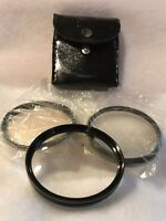 Vintage Royal Japan 3 Piece Close Up Lens Set 55mm Chrome With Leather Case