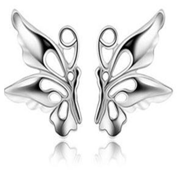 1 Pair New Hot Women Lovely Butterfly  Earrings Silver Plated Jewelry
