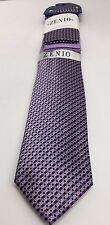 Zenio Slim Tie & Two Hankies Set Lavender Purple Black & Gray for Men Microfiber