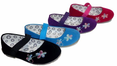 Toddler Kids Girls Shoes Faux Suede Ballet Ballerina Slip On Flower Flats