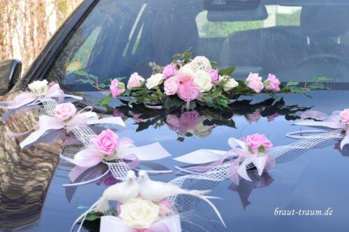 Hochzeit Braut zum Brautkleid Edler Autoschmuck creme//rosé Brautstrauss