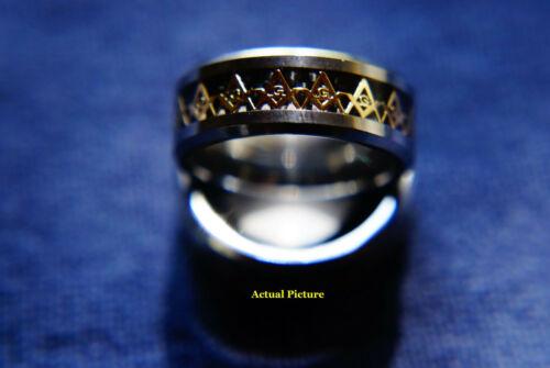 Silver /& Gold Tungsten Steel ~ Size 11 ~ Brand New Masonic Ring in Black