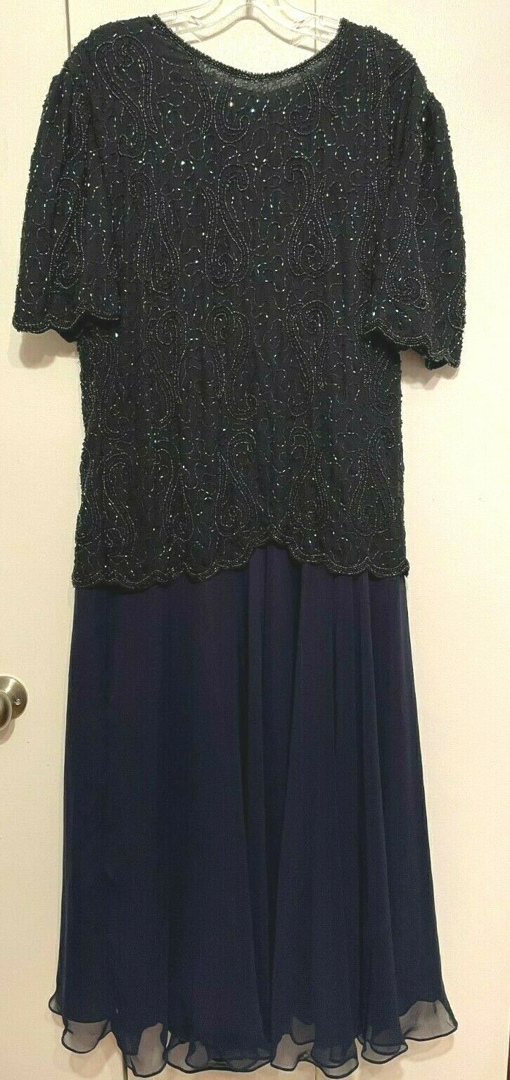 JMD New York Beaded Dark Blue Evening Gown or Mother of the Bride Gown 2X