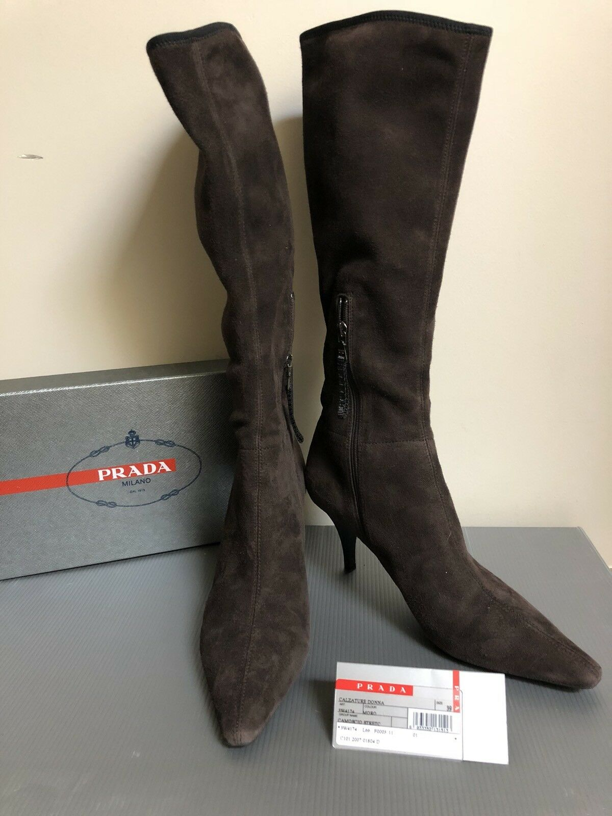 Auth PRADA 39 pointy toe boots Camoscio Stretch Suede brown MINT
