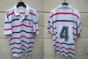 Maillot-rugby-STADE-TOULOUSAIN-porte-n-4-shirt-collector-vintage-blanc-rare-80-039-s