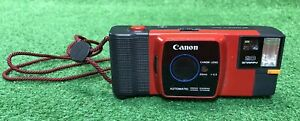 Rare-Vintage-Red-Canon-Snappy-20-35mm-Film-Camera-With-Strap