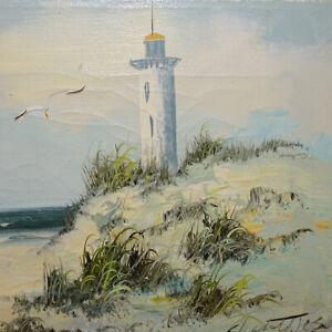 Vintage-Original-Coastal-Seascape-Oil-Painting-on-Canvas-Lighthouse-Grassy-Dunes