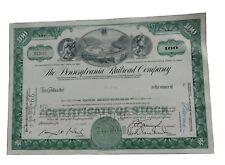 PENNSYLVANIA RAILROAD stock certificates 1960s Green Horseshoe Curve