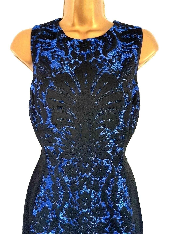 HOBBS Magnifique Brodé Noir & Bleu Fête Occasion Jacquard Robe UK 14