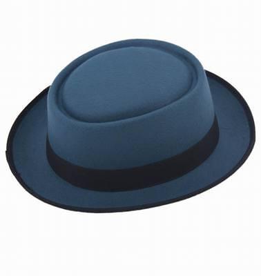 Unisex Classic Felt Pork Pie Porkpie Hat Cap Upturn Short Brim Black Ribbon Band